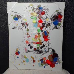 NWT! Cow Splash Paint Canvas